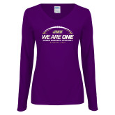 Ladies Purple Long Sleeve V Neck Tee-We Are One - Kickoff 2017