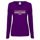Ladies Purple Long Sleeve V Neck Tee-Swimming and Diving Champions