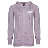 ENZA Ladies Hot Violet Marled Full Zip Hoodie-Primary Logo