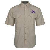 Khaki Short Sleeve Performance Fishing Shirt-Duke Dog