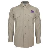 Khaki Long Sleeve Performance Fishing Shirt-Duke Dog