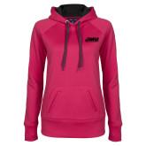Ladies Pink Raspberry Tech Fleece Hoodie-Primary Logo