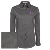 Ladies Grey Tonal Pattern Long Sleeve Shirt-Duke Dog