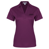 Ladies Purple Performance Fine Jacquard Polo-Primary Logo