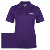 Ladies Purple Dry Mesh Polo-James Madison University Arched