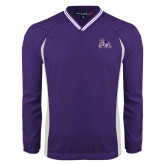 Colorblock V Neck Purple/White Raglan Windshirt-Duke Dog