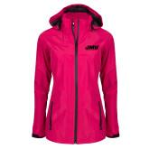Ladies Dark Fuchsia Waterproof Jacket-Primary Logo