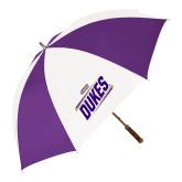 64 Inch Purple/White Umbrella-Dukes Slanted