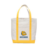 Contender White/Gold Canvas Tote-Jarvis Chrsitian College Bulldogs w/ Major Stacked