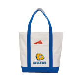 Contender White/Royal Canvas Tote-Jarvis Chrsitian College Bulldogs w/ Major Stacked