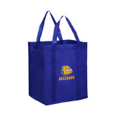 Non Woven Royal Grocery Tote-Jarvis Chrsitian College Bulldogs w/ Major Stacked