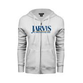 ENZA Ladies White Fleece Full Zip Hoodie-Jarvis Christian College - Institutional Mark