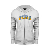 ENZA Ladies White Fleece Full Zip Hoodie-Arched Jarvis Christian College Bulldogs