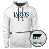 Contemporary Sofspun White Hoodie-Jarvis Christian College - Institutional Mark