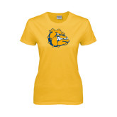 Ladies Gold T Shirt-Major - Bulldog Head