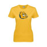 Ladies Gold T Shirt-Major - Bulldog Head