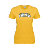 Ladies Gold T Shirt-Arched Jarvis Christian College Bulldogs