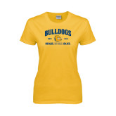 Ladies Gold T Shirt-Go Blue . Go Gold . Go JCC