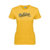 Ladies Gold T Shirt-Scripted Bulldogs w Major