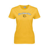 Ladies Gold T Shirt-Arched Jarvis Christian College - Script