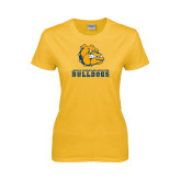 Ladies Gold T Shirt-Jarvis Chrsitian College Bulldogs w/ Major Stacked - Distressed