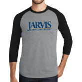 Grey/Black Tri Blend Baseball Raglan-Jarvis Christian College - Institutional Mark
