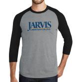 Grey/Black Tri Blend Baseball Raglan-Jarvis Christian College - Institutional Mark