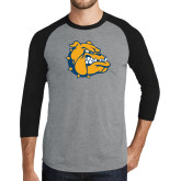 Grey/Black Tri Blend Baseball Raglan-Major - Bulldog Head