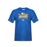 Youth Royal T Shirt-Crossed Bats Softball Design