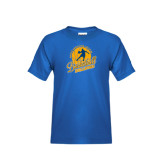 Youth Royal T Shirt-Basketball w/ Player in Ball Design