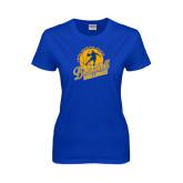 Ladies Royal T Shirt-Basketball w/ Player in Ball Design