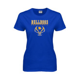 Ladies Royal T Shirt-Basketball in Ball Design