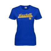 Ladies Royal T Shirt-Baseball Bat Design
