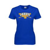 Ladies Royal T Shirt-Crossed Bats Baseball Design
