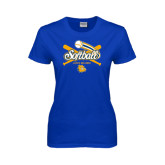 Ladies Royal T Shirt-Crossed Bats Softball Design