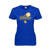 Ladies Royal T Shirt-Soccer Ball Stacked Desgin