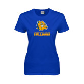 Ladies Royal T Shirt-Jarvis Chrsitian College Bulldogs w/ Major Stacked - Distressed