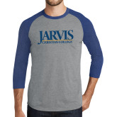 Grey/Royal Heather Tri Blend Baseball Raglan-Jarvis Christian College - Institutional Mark