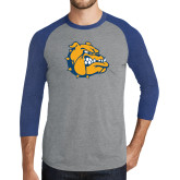 Grey/Royal Heather Tri Blend Baseball Raglan-Major - Bulldog Head