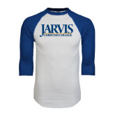 White/Royal Raglan Baseball T Shirt-Jarvis Christian College - Institutional Mark