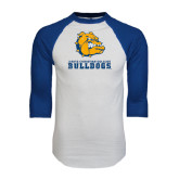 White/Royal Raglan Baseball T Shirt-Jarvis Chrsitian College Bulldogs w/ Major Stacked - Distressed