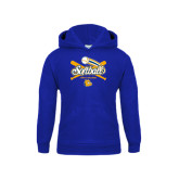 Youth Royal Fleece Hoodie-Crossed Bats Softball Design