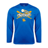 Syntrel Performance Royal Longsleeve Shirt-Crossed Bats Softball Design