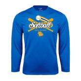 Syntrel Performance Royal Longsleeve Shirt-Crossed Bats Softball Design