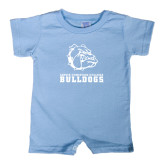 Light Blue Infant Romper-Jarvis Chrsitian College Bulldogs w/ Major Stacked