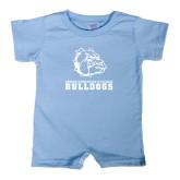 Light Blue Infant Romper-Jarvis Chrsitian College Bulldogs w/ Major Stacked
