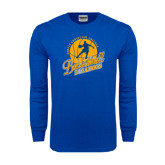 Royal Long Sleeve T Shirt-Basketball w/ Player in Ball Design