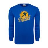 Royal Long Sleeve T Shirt-Basketball w/ Player in Ball Design