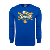 Royal Long Sleeve T Shirt-Crossed Bats Softball Design