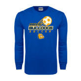 Royal Long Sleeve T Shirt-Soccer Ball Stacked Desgin
